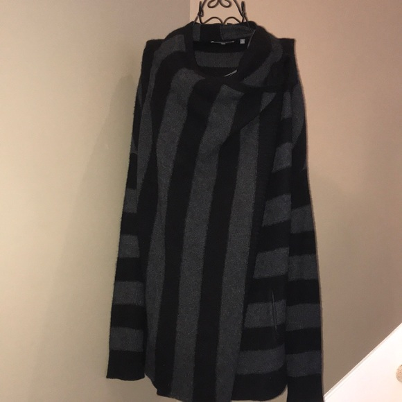 Vince Sweaters Black Grey Striped Tie Front Cardigan Poshmark